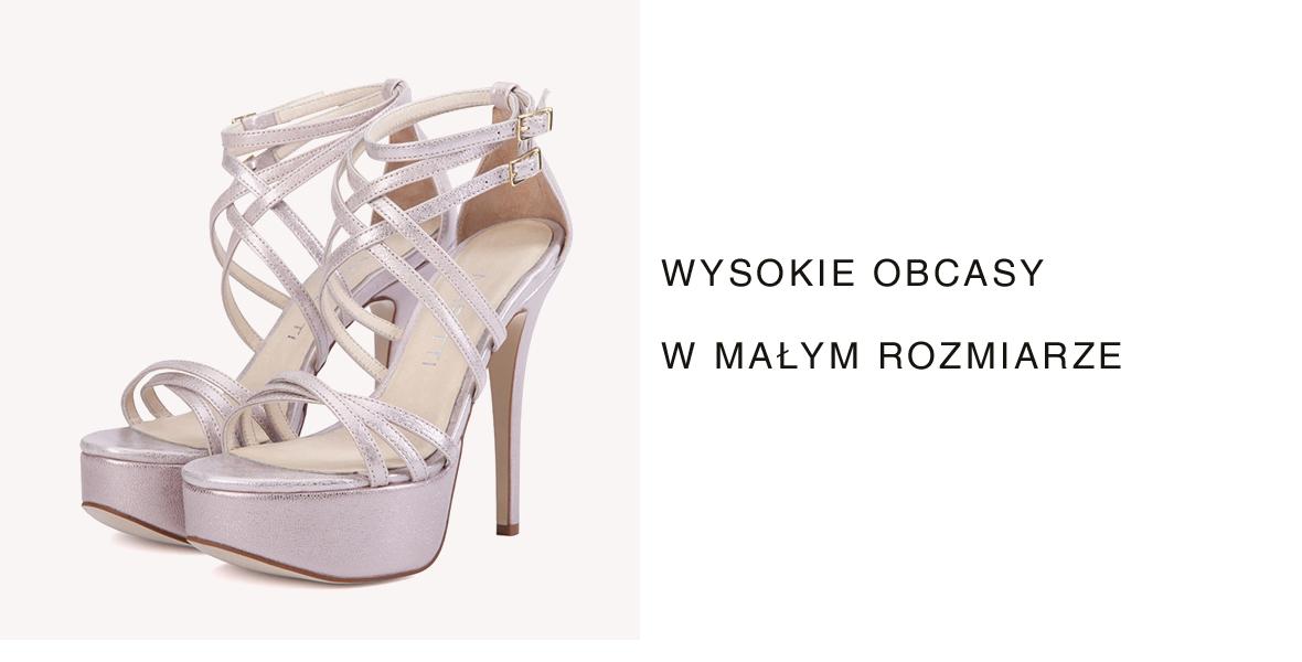 Małe rozmiary butów damskich sandały na obcasie.